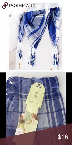 """Blue Tassel Scarf Accessorize in style with this colorful blue and white plaid scarf, 100% Polyester, 40"""" long x 40""""  Wide, 3.5"""" long tassels in corners Boutique Accessories Scarves & Wraps"""