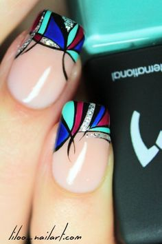 A close up of the Pablo Picasso nail art by Liloo...x