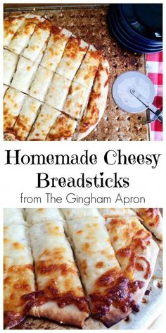 Homemade Cheesy Breadsticks These cheesy bread sticks are a delicious appetizer or side dish to serve alongside a yummy salad or big bowl. Yummy Appetizers, Appetizer Recipes, Dessert Recipes, Appetizer Dessert, Dessert Food, Food & Drink, Food Recipes Snacks, Italian Food Appetizers, Food Recipes For Dinner