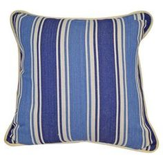 Cotton and linen pillow with blue stripes.    Product: PillowConstruction Material: Cotton and linenColor: BlueFeatures: Insert includedCleaning and Care: Dry clean only