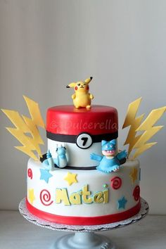 https://flic.kr/p/t4Zmu2 | Pokemon Cake for Matei | Double chocolate cake with white chocolate cream cheese buttercream