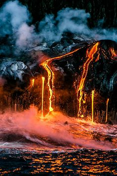 cool volcano eruption, the colouring fits our lighting ideas dark and the lava lights up some places