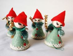 Rare Vintage Christmas Mache Pixie Elf Doll Ornaments Made In Japan Lot of Six!