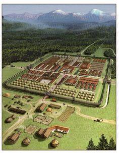 """Castrum romano - en la frontera ( """"limas"""") con Alemania, stativum castrum (campamento permanente) para el 'IX Batavorum equitata milliaria exploratorum' ~ 1000 hombres de caballería de la cohorte"""