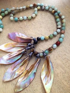 "Bohemian Gypsy Chic Layering Crochet 20"" Necklace with Semi Precious Amazonite and Shell Feather Beads/Charms"