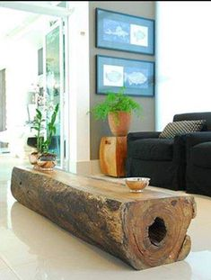 Coffee table made from a fallen log