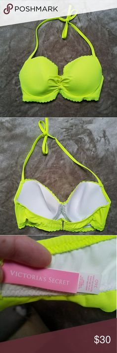 Victoria's Secret Getaway Halter Bikini set 36D/L This bright yellow bikini top is super flattering and comfortable! It was worn maybe once. In mint condition. Comes with matching L bottoms! (Yes they match, pictures were just taken in different lighting). Victoria's Secret Swim Bikinis