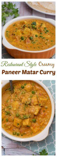 restaurant style paneer matar curry