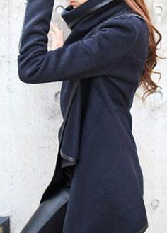 Navy Blue Turndown Collar Long Sleeve Coat