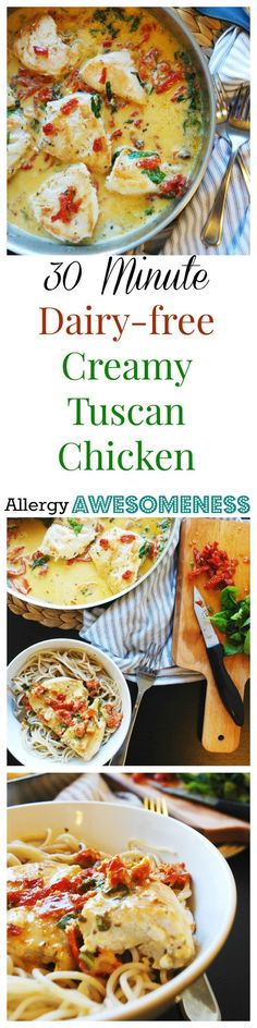 30 Minute Dairy-free Creamy Tuscan Chicken (Gluten & grain-free options too! Allergy Free Recipes, Healthy Recipes, Ketogenic Recipes, Keto Recipes, Candida Recipes, Healthy Dinners, Ketogenic Diet, Delicious Recipes, Grain Free