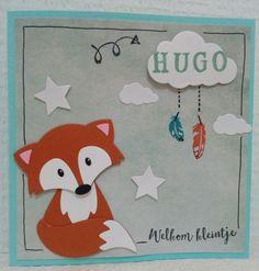Gemaakt door Joke # geboortekaartje met vosje, Hugo geboren