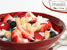 Berries, Nuts, and Coconut Shreds - used canned coconut milk or homemade almond milk - whole30 paleo