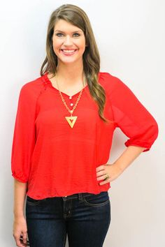 Red (my fav color!) sheer top