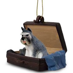 Hand Painted Elegant Gray Schnauzer Figurine Traveling Companion in a Suitcase