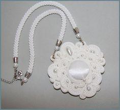 Snowwhite soutache wedding necklace SALE by BottyanGyongye on Etsy, Ft18000.00