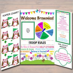 Brownie Kaper Chart & Girl Scouts Meeting Display Board INSTANT + EDITABLE Brownie Girl Scouts, Troop Leader, Brownie Girl Scout Meetings