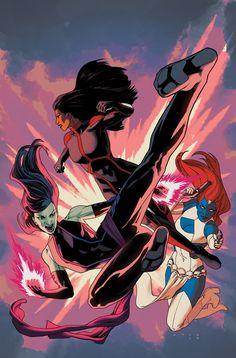 Uncanny X-Men #2 variant cover - Pyslocke, Mystique, and Monet St. Croix by Kris Anka *