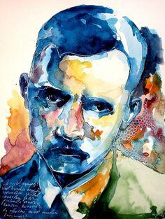 Jozsef Attila by on DeviantArt Sensitive Men, Artworks, Portraits, Deviantart, Teaching, Painting, Fictional Characters, Attila, Head Shots