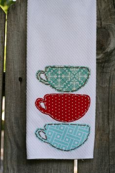 Hand Appliqued Tea Cups Tea Towel by MildredandMadge on Etsy, $15.00