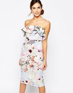 Bardot Bandeau Frill Pencil Dress In Floral Check Print