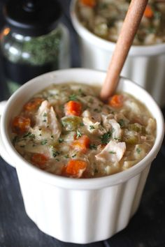This Copycat Panera Chicken Noodle Soup is the perfect meal on a chilly day! This soup is made in a crockpot, so the flavors are slowly cooked together, making every bite rich with flavor! Baked Cajun Chicken, Slow Cooked Chicken, Baked Chicken Recipes, Ww Recipes, Mexican Food Recipes, Crockpot Recipes, Cooking Recipes, Copycat Recipes, Freezer Recipes