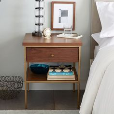 Nook Side Table, Walnut/Antique Brass