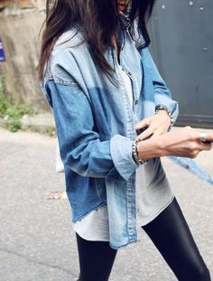 denim + leather leggings