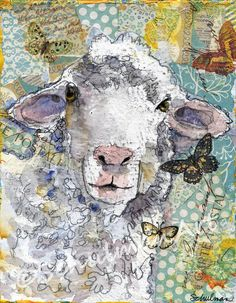 Sheep art painting | farm art | nursery room art | mixed media collage art…
