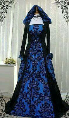 Blue/black midevial/early renasance dress