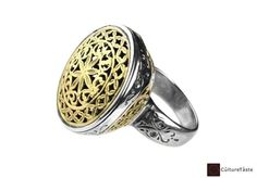 """Handmade solid 18K gold and sterling silver ring, inspired by a Byzantine-Medieval design.  An imperial filigree ring made for both men and women handcrafted with the finest attention to detail by Gerochristo.     Dimensions    Width: about 2.10 cm ~~ 0.83""""  Height: about 2.50 cm ~~ 0.98""""          Material    18K Solid Gold  925 Sterling Silver          ..."""