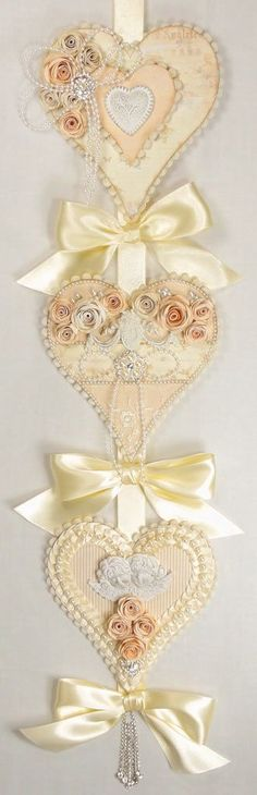 Shabby Chic Hanging Hearts Decoration by Pazzles Design Team Member Tara Brown: