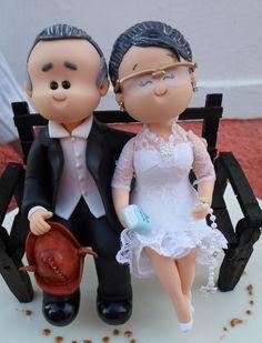 bonecos de biscuit para bolo de bodas de ouro - Pesquisa Google