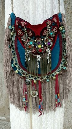 Handmade Velvet Fringe Bag Gypsy Hippie Boho Hobo Ibiza Festival Purse tmyers…