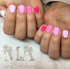 Pink Ombre Nails, Gradient Nails, Cute Acrylic Nails, Acrylic Nail Designs, Cute Nails, Galaxy Nails, Short Pink Nails, Stylish Nails, Trendy Nails