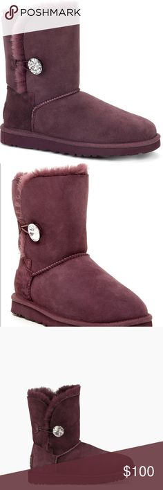 Ugg bailey rhinestone boots in deep purple/maroon Beautiful deep purple/maroon ugg bailey boots. Perfect for fall!   If it is listed it is available ⭐️No trades Authentic  ☀️No Modeling MAJOR BUNDLE DISCOUNTS UGG Shoes Ankle Boots & Booties