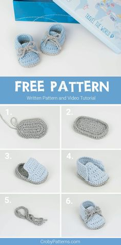 FREE PATTERN: Crochet Baby Sneakers | Croby Patterns Crochet Baby Sandals, Crochet Baby Boots, Crochet Bebe, Crochet Baby Clothes, Crochet For Boys, Crochet Shoes, Free Crochet, Knitted Baby, Cotton Crochet