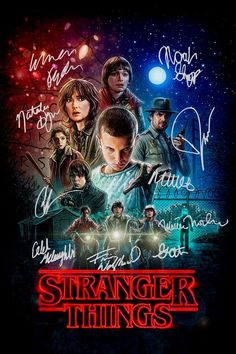 Stranger Things poster signed by the cast.