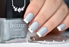 Elegant gray and white French nails www.finditforweddings.com Nail Art