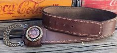 Vintage LA DOPPIA VITA Horseshoe Buckle Western Brown Leather Hip Belt Women's M #LaDoppiaVita #HipBelt