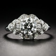 1.04 Carat Platinum and Diamond Art Deco Engagement Ring
