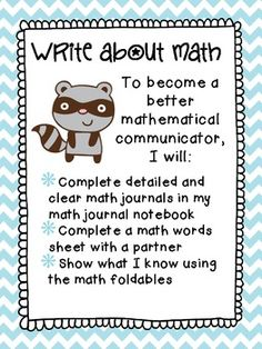 Math Center: Write about math- increase communication! 3 activity types, 50 pages, $3!