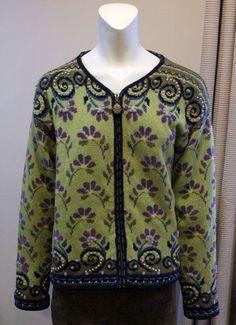 $70.00 Icelandic Designs Green Wool Cardigan Sweater Womans Large Lined Zipper Jacket | eBay