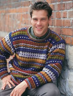 Stripes and Checks - Free Pattern Download - Subtle stripes and specks of color keep this men's sweater interesting without being gaudy.