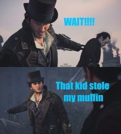 This is a test that is testing how well you really know Assassin's Creed Syndicate. Assassins Creed Quotes, Assassins Creed Jacob, Assassin's Creed I, Kids Stealing, Leap Of Faith, Fun Comics, Bioshock, Gaming Memes, Funny Memes