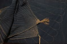 """""""The sashiko re-inforced corners of the furoshiki are so cool that I started Ogata san on a copy immediately. Ted found these at the antique market in Kyoto."""" Japanese Textile Workshops"""