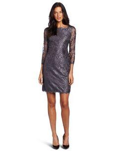 Adrianna Papell Women's Long Sleeve Lace Dress, Dark Silver, 10 Adrianna Papell, http://www.amazon.com/dp/B008M63AQU/ref=cm_sw_r_pi_dp_p6Rsqb1DWWK1T