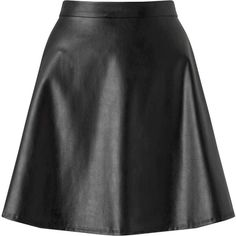 Miss Selfridge Black Faux Leather Skirt ($53) ❤ liked on Polyvore featuring skirts, black, imitation leather skirt, skater skirts, miss selfridge, faux leather flared skirt and fake leather skirt