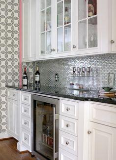 Custom Designed Bar Area | Designers Guild wallpaper | Mirrored glass tile | Black diamond granite countertop