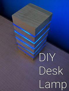 66 Ideas for led lighting ideas diy wood lamps Led Light Projects, Led Projects, Diy Pallet Projects, Pallet Ideas, Wood Desk Lamp, Wooden Lamp, Lamp Table, Diy Luz Led, Deco Led