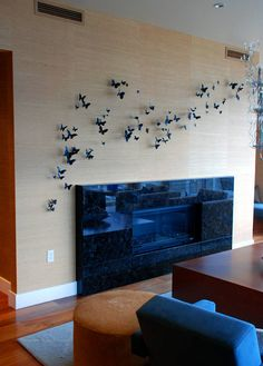 Paul Villinski installation of butterflies.